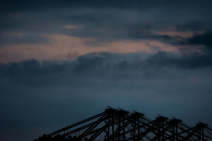 industrial moods Container Crane Container Port Containerbrücke Hafen Hamburg Harbour Harbour Industry Lowlight Open Edit Silhouette Sky And Clouds Cloudly Clouds Container Terminal Crane Crane - Construction Machinery Dusk Eye4photography  Geometric Shape Light And Shadow Lowlightphotography Moody Outdoors Sky Symmetry