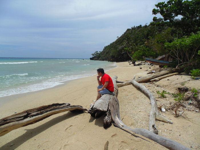 Thinking Sea Beach Sand Horizon Over Water People Outdoors