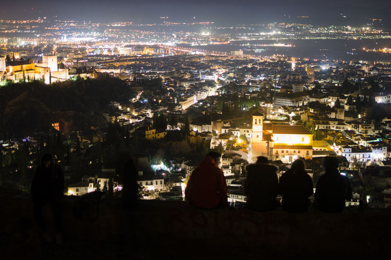Granada Granada, Spain Andalucía Albaicin Albaycin Sacromonte San Migueal Del Alto Architecture Cityscape Building Exterior City Built Structure Crowd Night Illuminated Group Of People Sitting Real People Nature Building Crowded People Sky Outdoors Men City Life Leisure Activity Looking At View