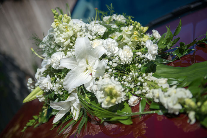 Backgrounds Beauty In Nature Bouquet Car Decor Celebration Close-up Day Decoration Event Floristics Flower Flower Decoration Flower Head Fragility Freshness Hand Work Holiday Nature No People Outdoors Transportation Wedding Car Wedding Details White Color White Lillies