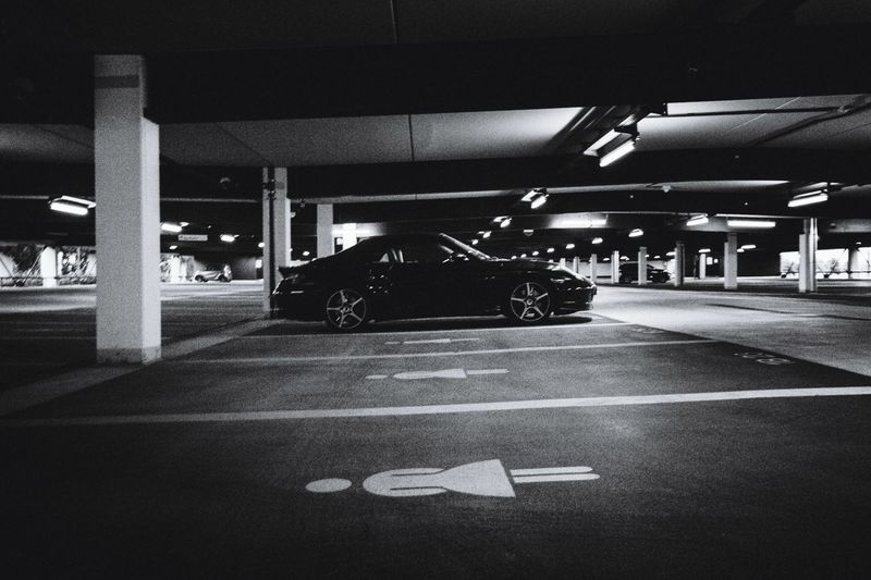 View of parking lot in city