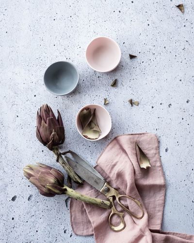 Artichokes TheWeekOnEyeEM Styling Photography Food And Drink Studio Shot No People Ingredient Lifestyle Photography Foodphotography Table On The Table Home Directly Above From Above  Tablescene Cooking Cooking At Home Dinner Preparation  Porcelain  Muted Tones Visual Feast