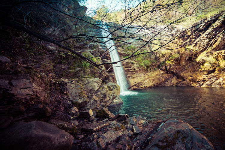 Tree Plant Water Beauty In Nature Scenics - Nature Nature No People Rock Flowing Water Outdoors Cascata Del Golfarone Villa Minozzo Waterfall Lake Landscape Wideangle Forset Long Exposure Tranquility Power In Nature