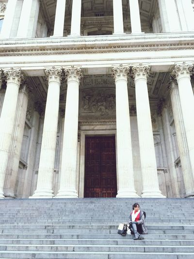 St Paul Cathedral  London Architecture Built Structure Building Exterior Architectural Column Real People Men Day History Travel Staircase Travel Destinations