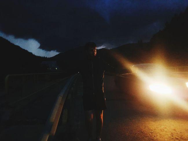 Full Length Men Illuminated Sky