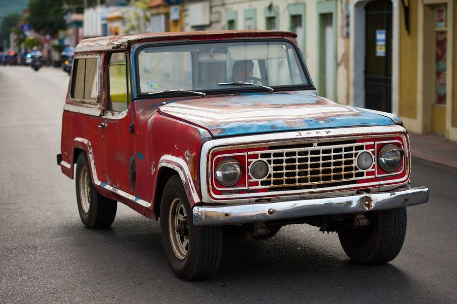 Mode Of Transport Vintage Car Transportation Land Vehicle Car Street Old-fashioned Retro Styled Red Outdoors Day Puerto Rico Island Puertorico Wheels Spanish America