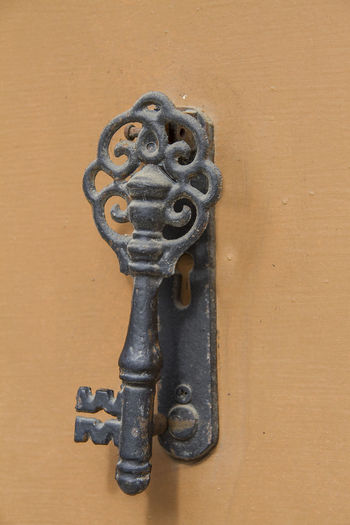 Close-up Day France Knocker Metal No People Old Iron Key Orange Door Outdoors Saint Nazaire En Roussillon