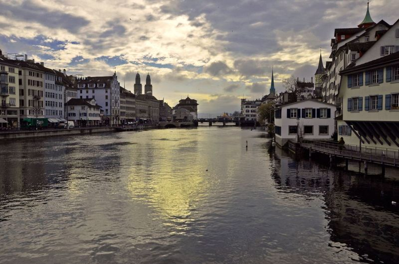 Zurich with River Limmat in the morning Water Waterfront City Outdoors No People City Water Reflections