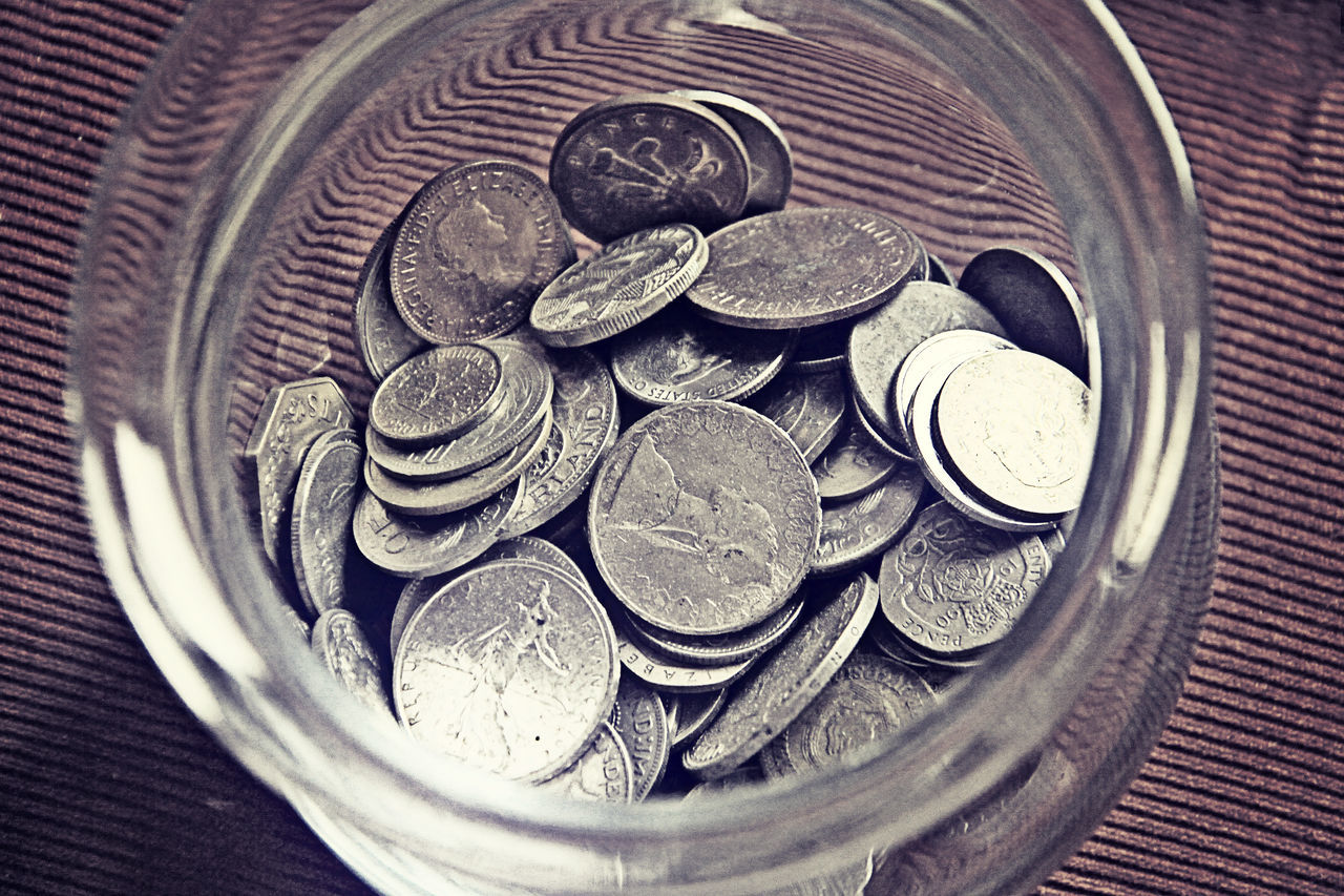 coin, currency, finance, wealth, savings, metal, money, no people, large group of objects, indoors, close-up, day