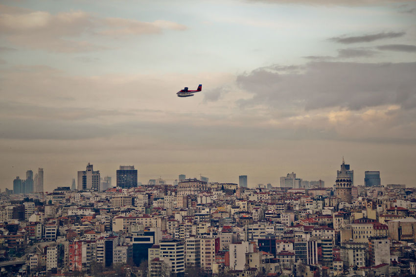 Airplane Architecture Building Exterior Built Structure City Cityscape Cloud - Sky Day Drone  Flying Istanbul Istanbul Turkey Mid-air No People Outdoors Sky Skyscraper Sunset Travel Destinations Turkey Urban Skyline