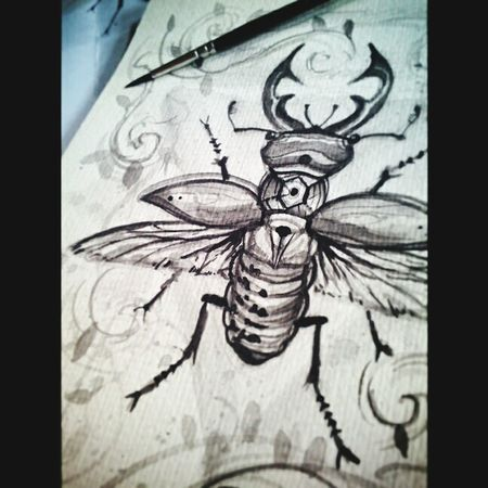 Beetle -postercolor on wc paper Surreal Sketch Monochromatic Tattooflash Drawing Painting Art Customdesign Traditionaltattoo Wildlife & Nature