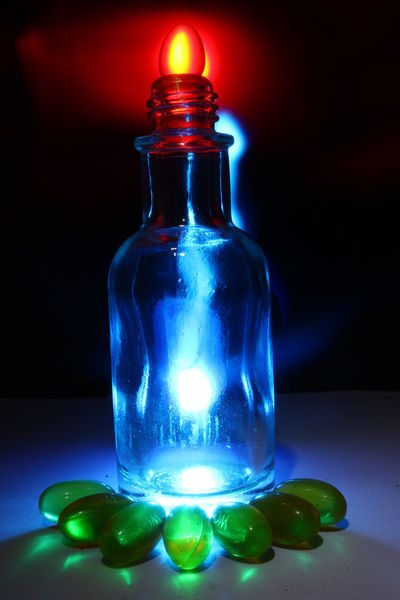 art bottle lamp Blue Bottle Close-up Container Focus On Foreground Glass Glass - Material Glowing Green Color Illuminated Indoors  Light - Natural Phenomenon Luxury Marbles Multi Colored No People Still Life Studio Shot Table Transparent Vibrant Color