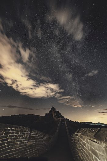 Panoramic view of land against sky at night