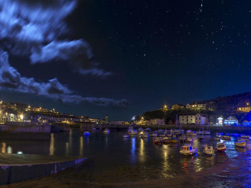 Beauty In Nature Cornwall Harbor Illuminated Moon Moonlight Nautical Vessel Night Nightphotography No People Porthleven Sky Star - Space