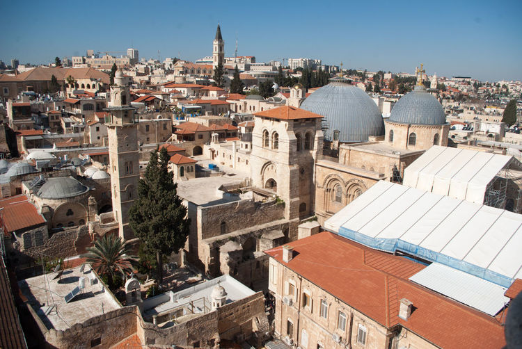Church of the Holy Sepulchre - outside Arch Architecture Building Exterior Built Structure Cathedral Church Community Composition Cross Development Exterior Façade History Human Settlement Perspective Place Of Worship Religion Residential District Spirituality Urban