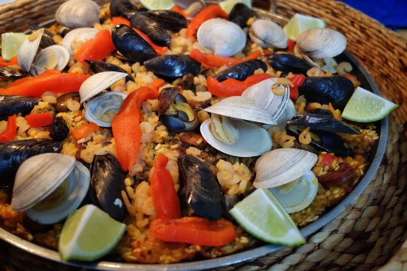 Close-Up Of Paella Served In Plate