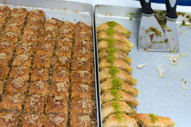 Various baklava on a baking tray Dessert Market Near East Pistachios Arabic Baklava Biscuits Close-up Dessert Filo Pastry Food Honey In A Row Offer Oriental Puff Pastry Snack Sugar Syrup Sweet Food Sweetness Tray Turkish Various