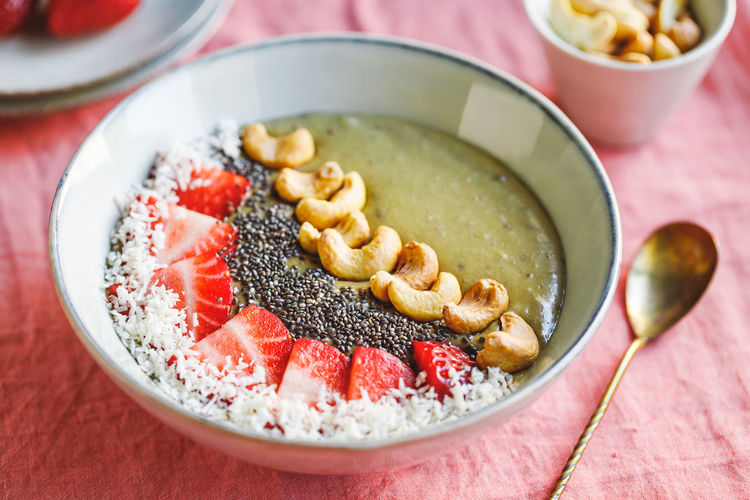 Food And Drink Food Healthy Eating Bowl Wellbeing Freshness Fruit Breakfast Berry Fruit Table Meal No People Sweet Food Indoors  Ready-to-eat Sweet Drink Spoon Close-up Dairy Product Porridge Yogurt Oatmeal Temptation Snack