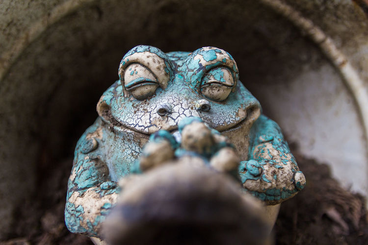 Close-up of old frog sculpture in yard