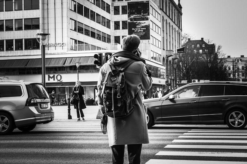 City Life Urban Blackandwhite Mensfashion Menswear Men RAWphotography EyeEm Best Shots Eye4photography  EyeEm Selects EyeEm Best Shots - Black + White Women Land Vehicle Full Length Yellow Taxi Standing Hailing Car Crosswalk Pedestrian Crossing Sign Zebra Crossing Pedestrian