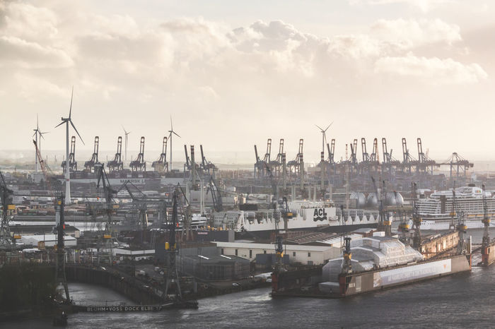 Building Exterior City Commercial Dock Day Elbe River Harbor Harbour View Industry Nature Nautical Vessel No People Outdoors River Ships Sky Transportation Water