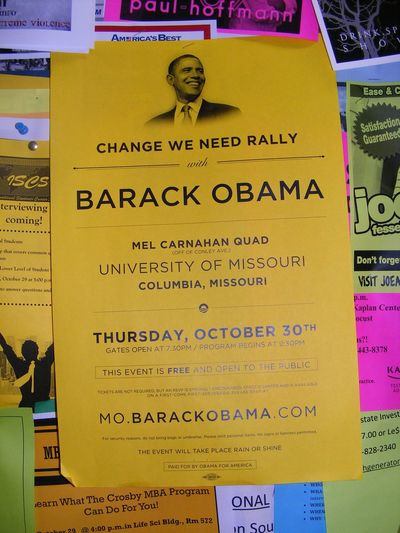 Barack Obama Campaign Poster Communication Democrat Election Flowers Flyer Information Sign Paper Political Politics Yellow