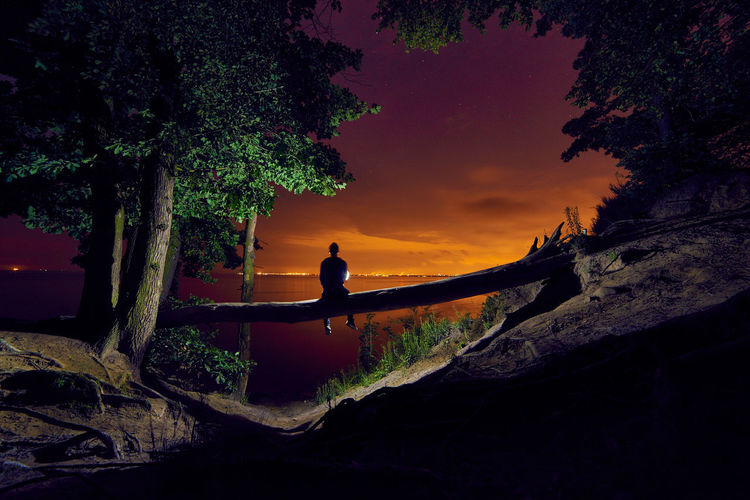 Rear view of silhouette man sitting on fallen tree at sea shore against sky during sunset