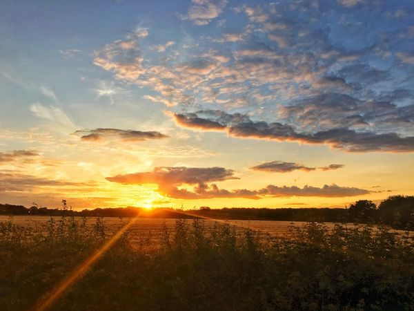Sunset over the fields Fields Cloud - Sky Scenics - Nature Tranquil Scene Tranquility Sunset Beauty In Nature