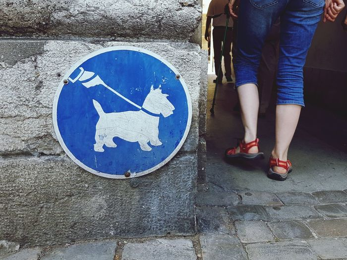 Low section of woman walking by dog sign on wall