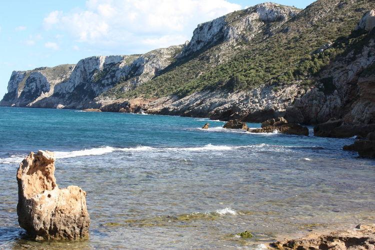 Scenic view of spanish rocky coastline