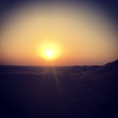 Desert sunset moment Sunsethunter Desert Desert Sunset Eyem Gallery Sky Sunset Tranquility Beauty In Nature Tranquil Scene Scenics - Nature Land Sun Idyllic Nature Landscape Horizon Sand Non-urban Scene No People Orange Color