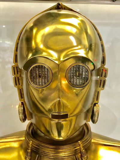 C3p0 Starwars Gold Colored Yellow Metal Indoors  No People Close-up Day