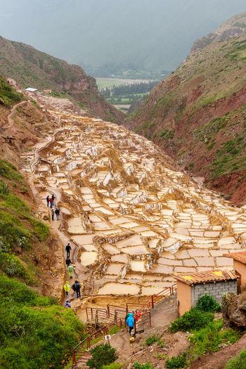 High angle view of salt mine