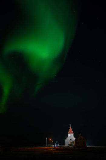 Northern Lights Iceland Aurora Church Night Green Color Space Astronomy Star - Space Illuminated Scenics - Nature No People Nature Natural Phenomenon Dramatic Sky Space And Astronomy Majestic Outdoors Sky Architecture Beauty In Nature