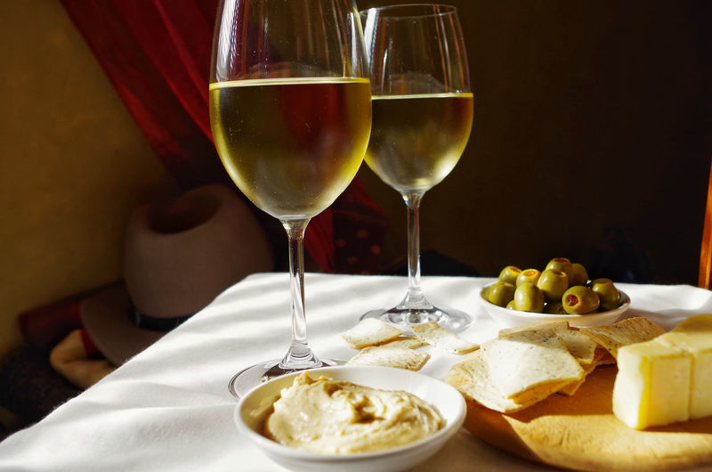 White wine with food on table