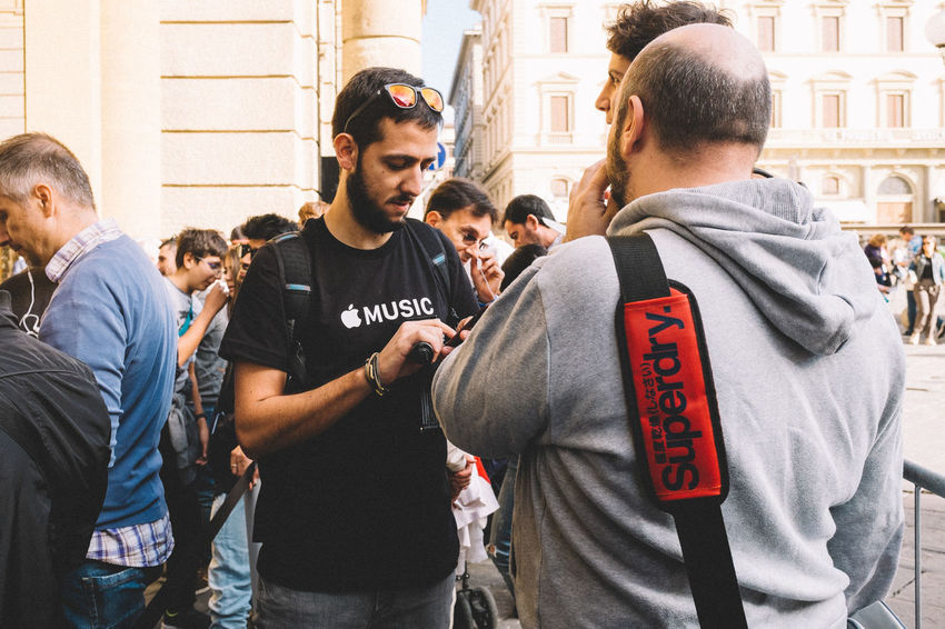 Apple Music Apple Apple Store Applestore At Apple Store Casual Clothing Composition Fashion Firenze Florence Friendship Front View Happiness Leisure Activity Lifestyles New Opening Opening Opening Day Person Real People Togetherness Young Men