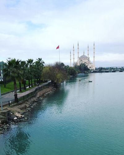 Adana Turkey Taşköprü Mosque Cami Flag Patriotism Tree Day Politics And Government Beach Outdoors Nature Architecture Sky