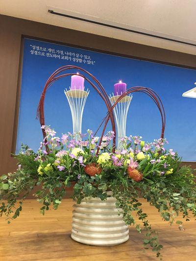 12월 첫째주, 대림절 둘째주 강단 꽃꽂이~ Thanks God Sunday Service Flower Arrangement Advent Peaceful IPhoneography IPhone