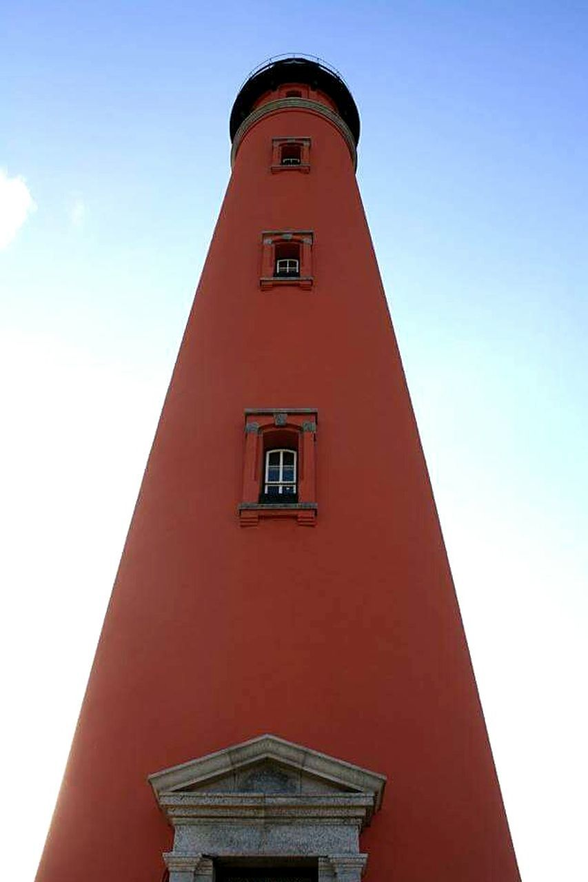 building exterior, built structure, architecture, low angle view, tower, red, day, no people, outdoors, lighthouse, sky, clock, clock face