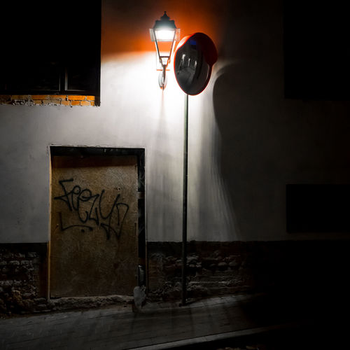 Street light against wall at home
