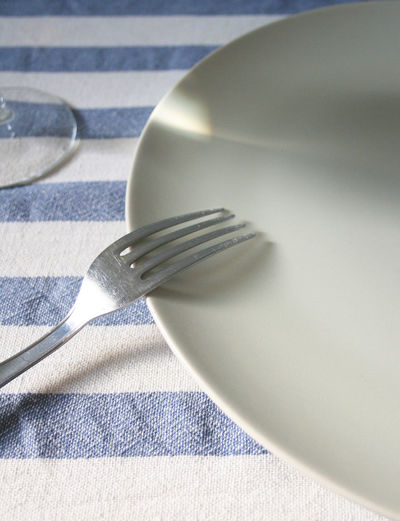 Close-up of fork on plate at table