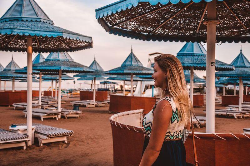 Woman looking at amusement park