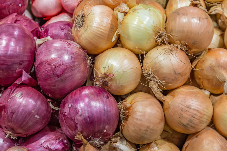 Full frame shot of onion for sale at market