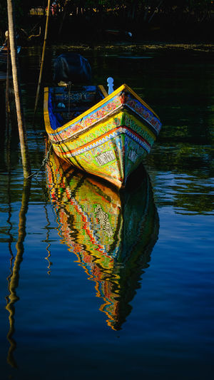 Boat moored in a lake