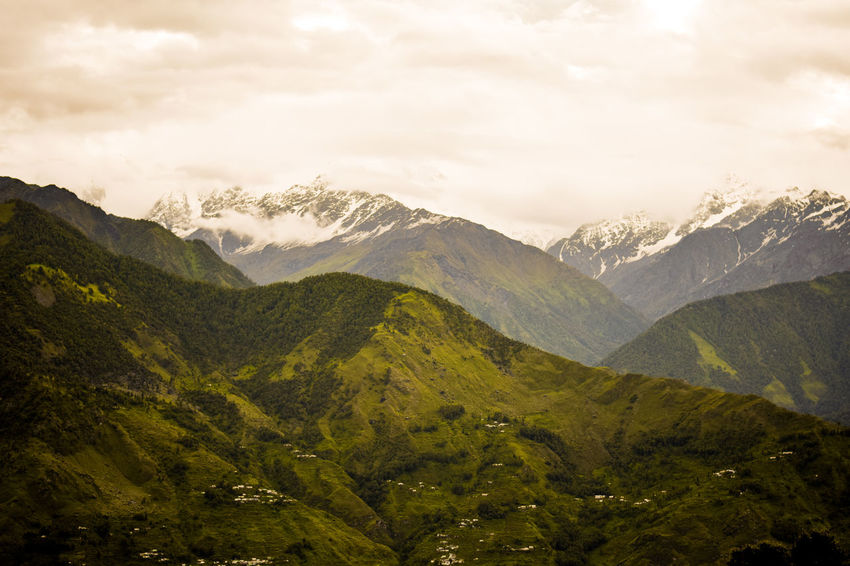 beautiful view of mountain (mix of greenery and snowcapped) Majestic Travel Destinations Tourism Mountain Range Beauty In Nature Munsyari Uttarakhand Incredible India Cold Weather Colourful Winter Beauty In Nature Day Landscape Mountain Nature No People Outdoors Overcast Range Scenics Mountain Peak Weather Foggy Snowcapped Mountain