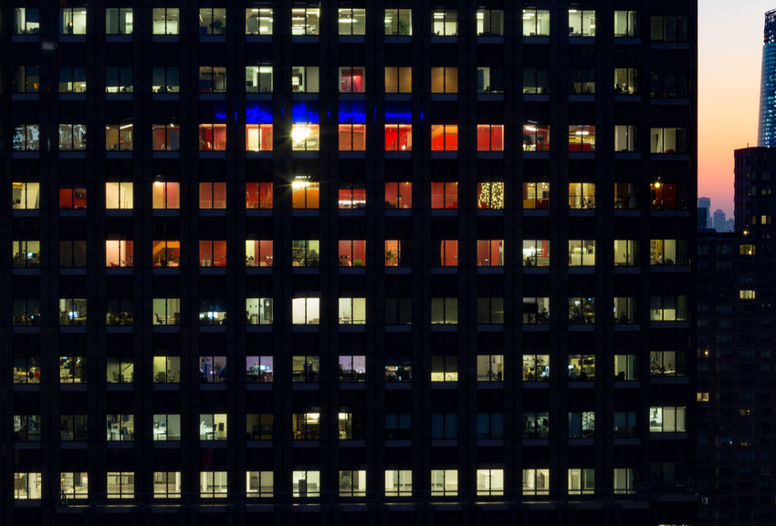 Architecture Modern No People Backgrounds Residential District Office Building Exterior Full Frame Skyscraper Window Pattern Outdoors Building Exterior Built Structure Multi Colored Office City Dusk Illuminated Apartment Night Glowing Cityscape Building