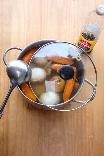 Beef Broth Broth Cooking Cooking At Home Food Freshness Healthy Eating High Angle View Homemade Food No People Table Vietnamese Food Vietnamese Pho Carrots Nuoc Mam Fish Sauce