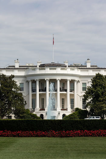 Exterior of white house against sky