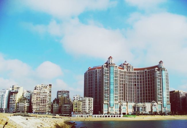 Travel Egypt Landscape Alexandria Buldings Bulding Architectural Detail Travel Photography égypte Alexandria Egypt Alexandria, Egypt Sea Luxury Luxurylifestyle  Luxurylife Hotel Architecture Sky Hotels City Town Beach Archtitecture Arch Archtecture