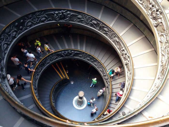 High Angle View Of Spiral Staircase In Vatican Museum